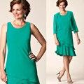 Сексуальная жемчужина три QuarterSleeves свадебные платья зеленый колен две пьесы с коротким мать невесты платья