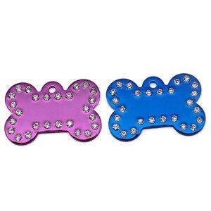 Image 5 - Wholesale 100Pcs Diamonds Bone Shape Pet Cat Dog ID Tags Personalized Customized Pet ID Nameplate Anti Lost Aluminum Name Plate