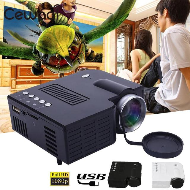 Best Offers Cewaal Mini Portable UC28B projector 500LM Home Theater Cinema Multimedia LED Video Projector Support USB TF Card US Plug