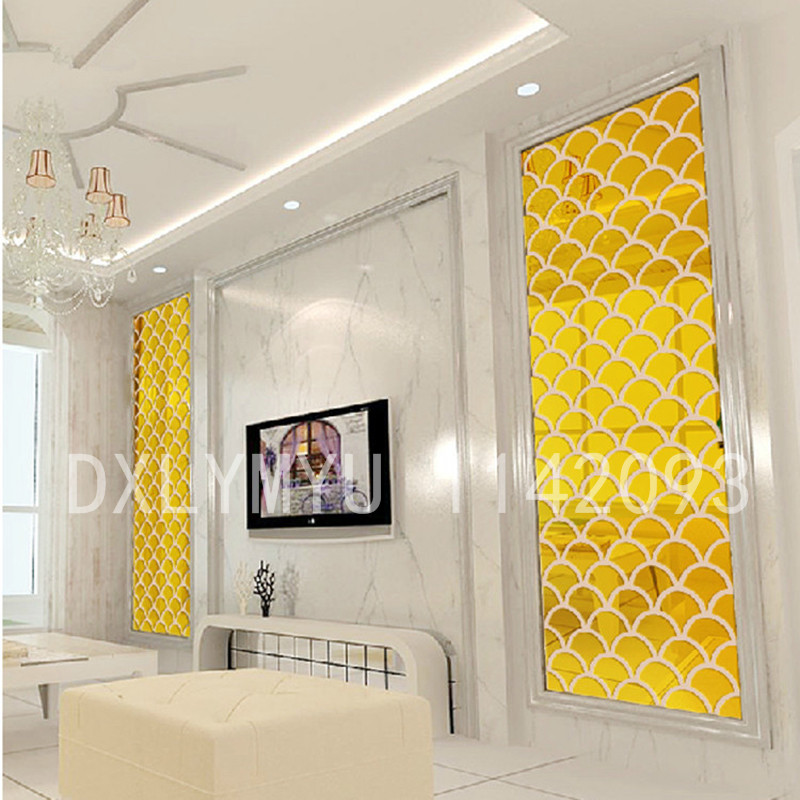 3D Fish Scale Mirror Sticker Acrylic Wall Stickers for Living Room Dining Room Decoration TV Background Wall Decals Decor in Wall Stickers from Home Garden