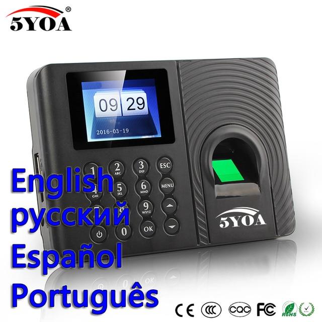 Biyometrik Parmak Izi Zaman Devam Sistemi Saati Kaydedici Çalışan Elektronik İngilizce İspanyolca Portekizce Okuyucu Makinesi İspanya