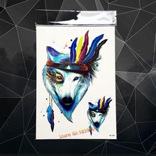 3D WaterColor Temporary Tattoo Feather Wolf Designs LArge Body Art Arm Tatoo 21x15CM Fake Flash Waterproof Tattoo Stickers Henna