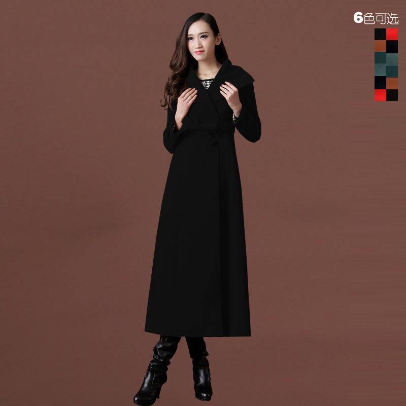 Новое осенне-зимнее шерстяное пальто ультра длинное дизайнерское утепленное шерстяное Женское пальто женское Шерстяное Пальто Верхняя одежда - Цвет: no cotton pad 01
