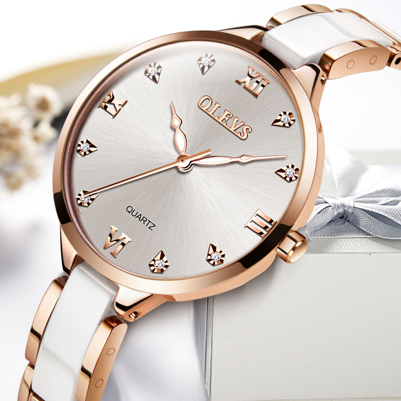 цена на Ceramic watch Rose gold Casual Women quartz watches relojes mujer OLEVS brand luxury wristwatches Girl elegant Dress clock 2018