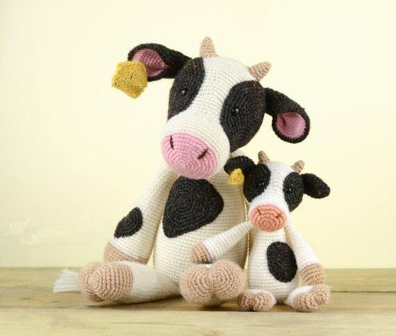 Crochet Mini Cow Toy Doll Rattle