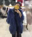 6 Colors Winter Fashion Women's Fur Coat Medium Long Natural Raccoon Fur Knitted Coat Overcoat Real Fur Jacket