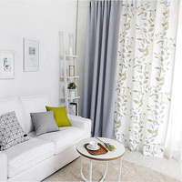 1x Drapery Panel 145 x 180cm 220cm 240cm 270cm Window Dressing Wave Curtain Nursery Kids Children Room White Grey Leaves