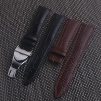 Black Brown Genuine Leather For TUDOR Watch Strap Band Buckle 19 20 21 22mm