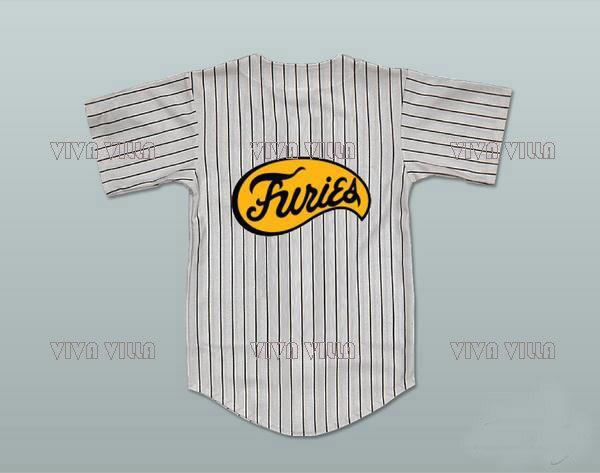 VIVA VILLA The Warriors Baseball Jersey Stitched Furies Pinstriped Gray Baseball Jersey S-4XL Free Shipping brand baseball jerseys 28 s xx coolbase