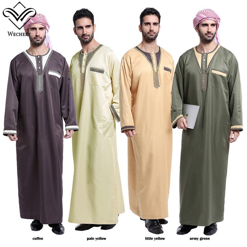 Wechery Fashion Muslim Clothing Mens Abaya 2018 Dubai Indian Middle East Islamic Robe For Men Long Thobe