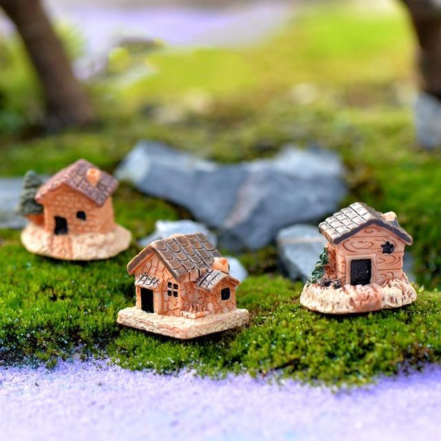 Chinese Style Resin Antique Mini House Building Micro Fairy Garden Figurines  Miniatures/Terrarium Dollhouse Decor Ornaments DIY