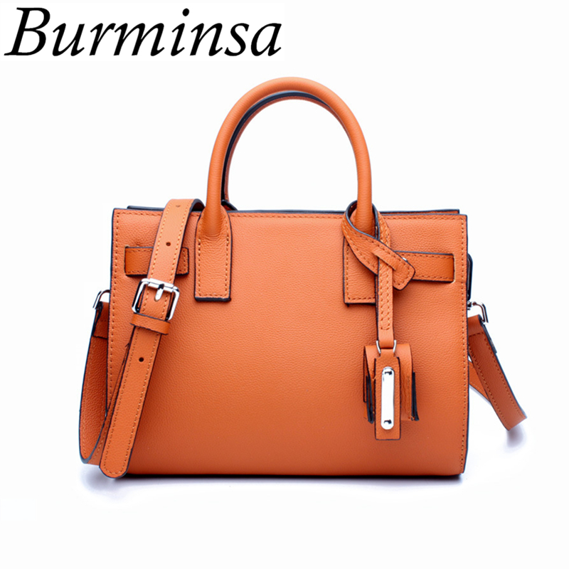 Burminsa Brand Luxury Genuine Leather Bags Designer Handbag High Quality Ladies Tote Bags Messenger Shoulder Bags For Women 2017 luxury togo genuine leather bags famous brand designer handbags high quality office ladies tote shoulder bags for women 25 30