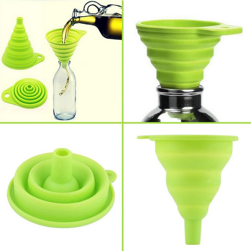 Vysoce kvalitní 1 ks Anti-spill Kuchyně nálevka miniaplikaci Mini silikonové skládací skládací skládací násypky násypky nádoby kuchyňské nástroje
