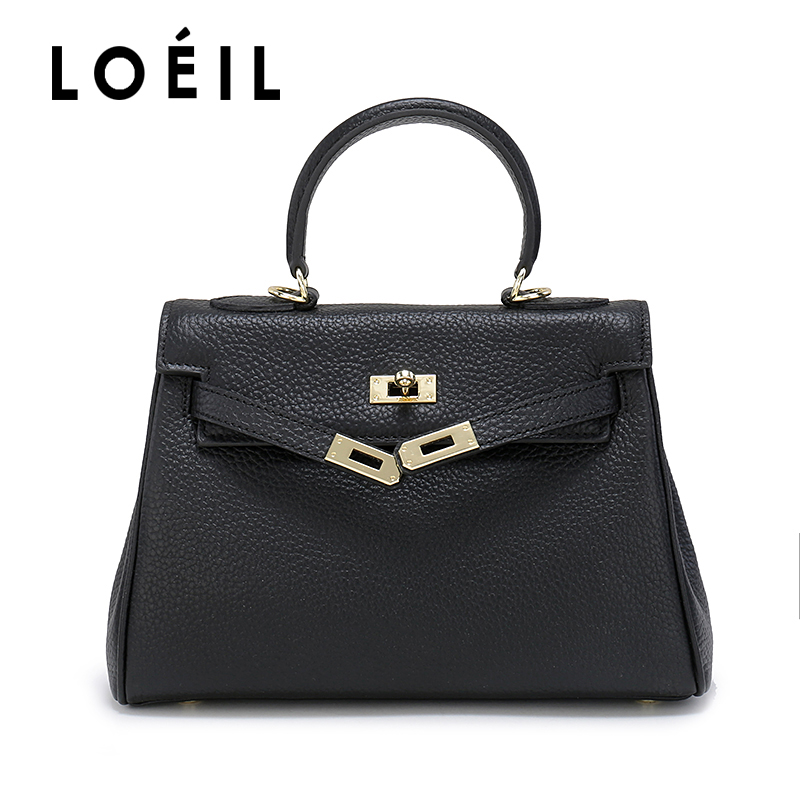 LOEIL ladies bag Litchi pattern Cowhide leather shoulder bag women Crossbody Bags Fashion Women Handbags fashion flag pattern and zip design crossbody bag for women