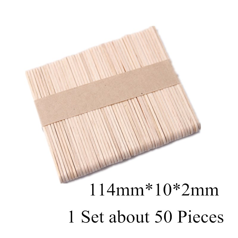50Pcs/Lot Colored Wooden Popsicle Sticks Natural Wood Ice Cream Sticks Kids DIY Hand Crafts Art Ice Cream Lolly Cake Tools image