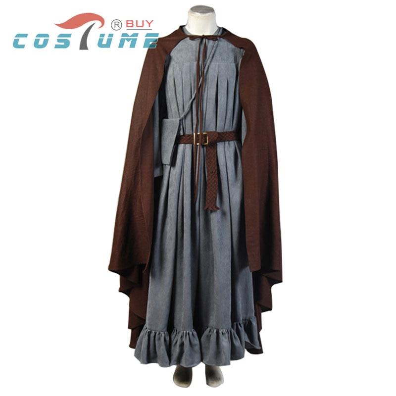 Homme Femme Long Vert Bordure en fourrure à capuche Médiéval Costume Déguisement Tenue cape