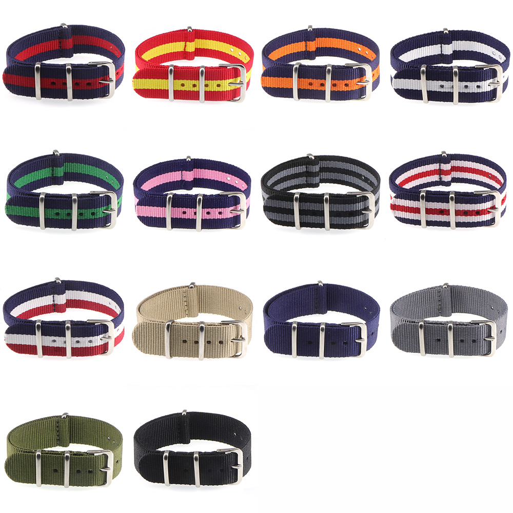 Hot Activity Top Quality  18mm 20mm 22mm Navy White Red For Diver 3 Keepers NATO Waterproof Nylon Strap Watch Band(China)