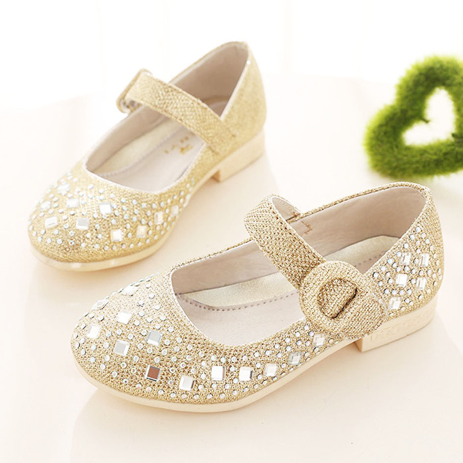 2016 Fashion Sparkling Children Girls Wedding Shoes Little Girls Princess Shoes  Rhinestone Party Children Girls Flats