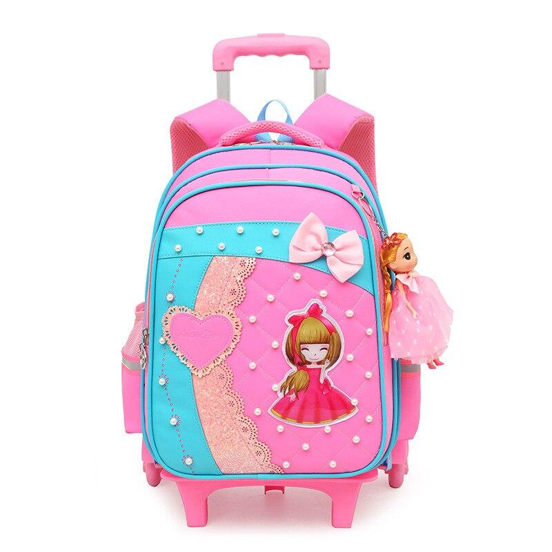 여자를위한 유행 사랑스러운 트롤리 학교 부대 바퀴에 이동할 수있는 만화 학교 책가방 아이들 bookbag 아이 schoolbag mochila-에서학교가방부터 수화물 & 가방 의  그룹 2