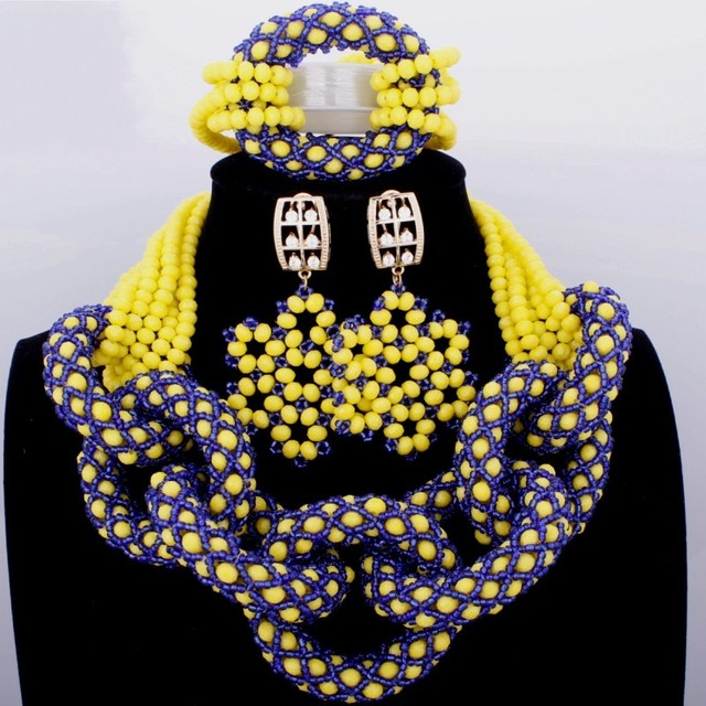 Beautifully Royal Blue And Yellow Crystal Beads Nigerian Wedding African Necklace Set 2018 Free ShippingJewelry Accessories