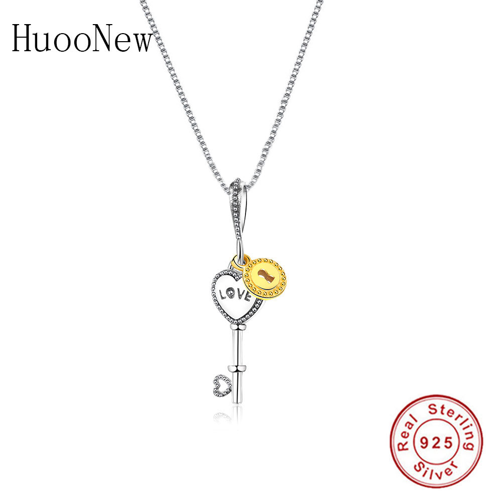 NEW Sterling Silver Lock and Key Pendant//Charm