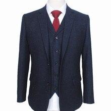 Изготовленный на заказ Ретро меланжевый цвет пятно медь темно-синий шерстяной твидовый костюм британский стиль мужской костюм slim fit Блейзер Свадебный костюм 3 шт