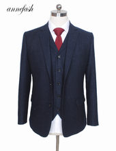 Custom Made Retro melange color spot copper navy woolen tweed suit British style Mens suit slim fit Blazer wedding suit 3pcs(China)