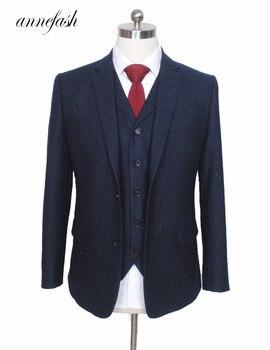 Custom Made Retro melange color spot copper navy woolen tweed suit British style Mens suit slim fit Blazer wedding suit 3pcs Men's Suits