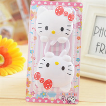 2PCS/SET Cute Hello Kitty Plastic Hooks Suckers Wall Suction Kitchen  Hanger Cup Suction Bathroom Kitchen Tools 6D