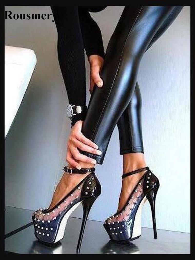 Women Sexy Open Toe Transparent PVC Design High Platform Spike Pumps Ankle Strap Rivet High Heels Evening Dress Shoes Real Photo цена