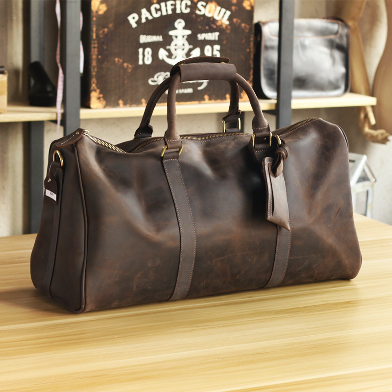 Luxury Pure Handmade Crazy Horse Leather Men's Travel Bags Big Vintage Men Leather Handbags Perfect Quality Genuine Leather Bag