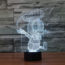 Free Shipping 7 Colors changing Flashing Donald Duck Arcylic 3D LED Night Light USB led table Lamp 3D led lamps dhl free shipping creative 7 colors 3d acrylic visual light led lamp birthday party table decoration lamps night light gifts