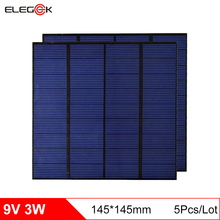 ELEGEEK 5Pcs/lot 9V 3W Solar Panel 145*145mm 330mA Mini Solar Panel Polycrystalline PET + EVA Laminated DIY Solar Panel for Test