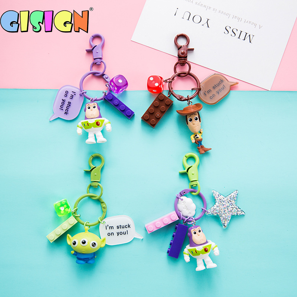 New Toy Story 4 Keychain Woody Buzz Lightyear Hamm Anime Cartoon Toys Figures Key Chain For Children Pendant Dinosaur Kids Gifts