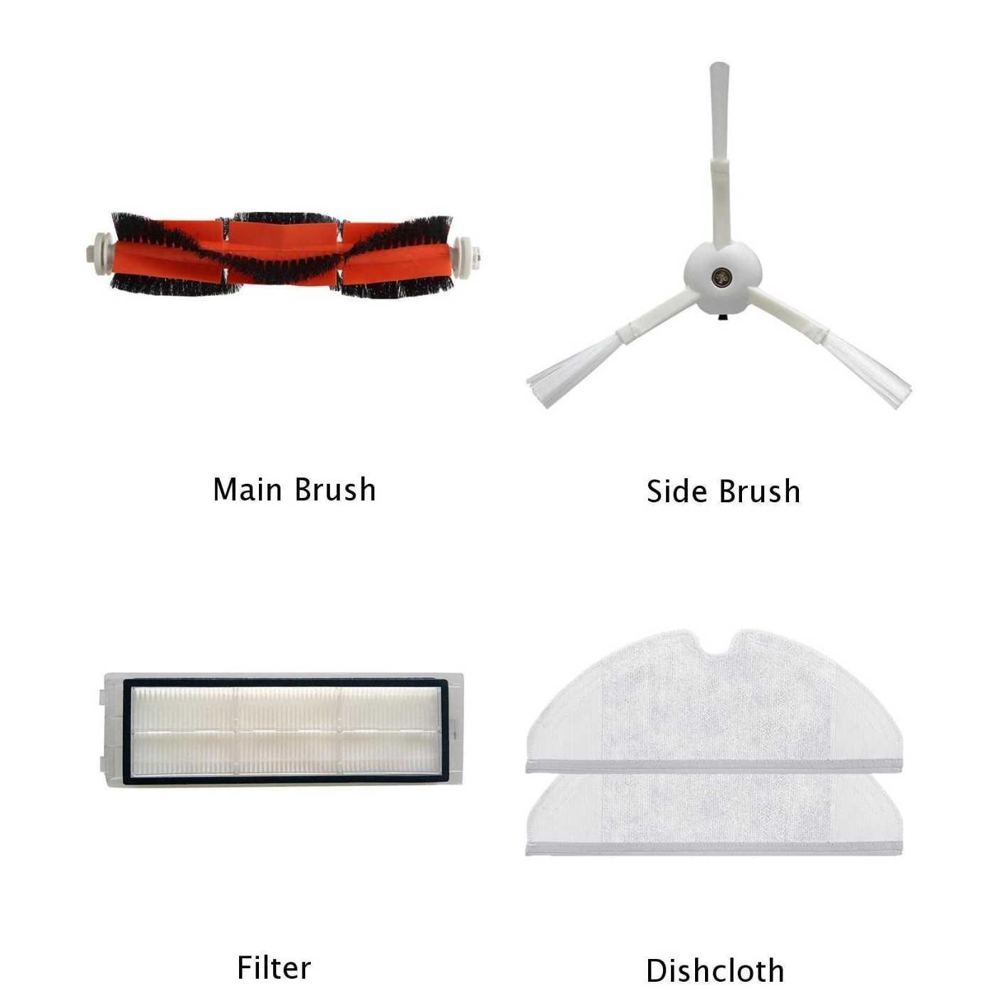 1 X основной щетки боковая щетка фильтр для мытья посуды для Xiaomi Mi Roborock S50 пылесос основной щетки, боковая щетка, фильтр, для мытья посуды