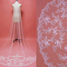 Beautiful Sparkling Sequins Lace Appliques Long Bridal Veil with Comb One Layer Cathedral Wedding Accessories