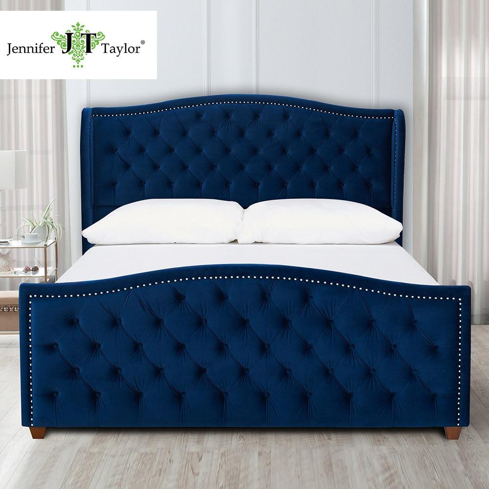 watch 23946 b97ac Jennifer Taylor Home, Upholstered Bed, King, Navy Blue ...