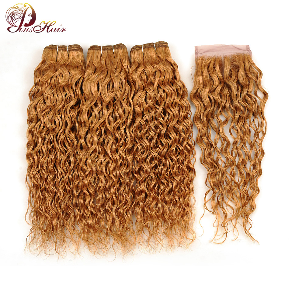 Blonde Water Wave Indian Human Hair 3 Bundles With Lace Closure Honey Blonde Color 27 Bundles With Closure Pinshair Nonremy Hair