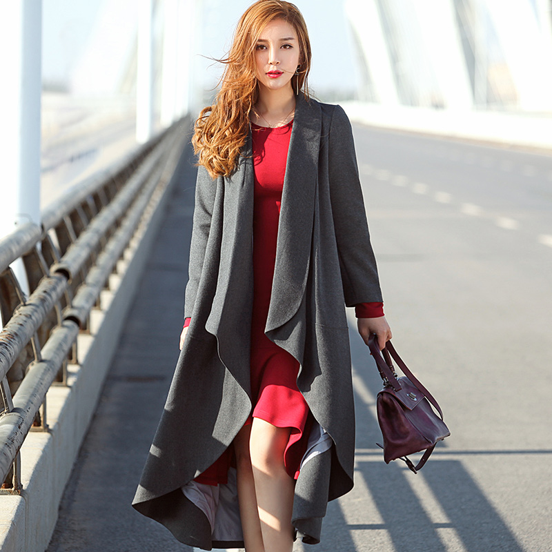 Autumn Winter Women's Mid Long Plus Size Trench Coat Female Red Grey Solid Wave Cut Outerwear Irregular Coat