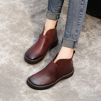 2017 Autumn And Winter New Women S Boots Literary Retro Leather Boots Flat Sleeve Leather Bare