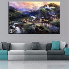 New Sale Collective Farm Home Wall Art Decor Thomas Kinkade Pastoral Village Landscape Artwork Prints Canvas Painting Unframed