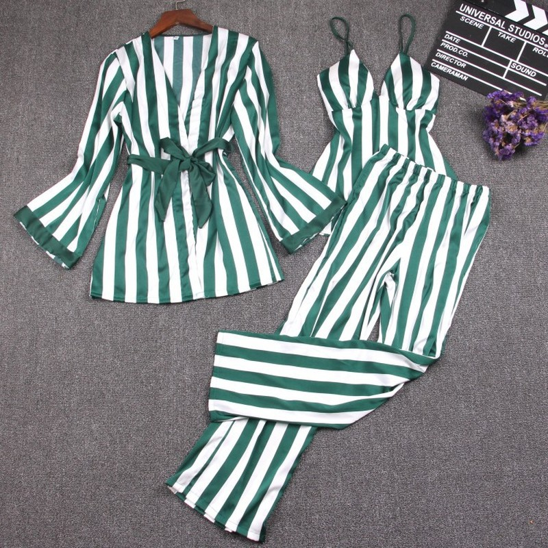 3 Pieces Silk   Pajamas     Set   For Women Vest Coat pants Blue Striped Pijama Mujer Pyjamas Women Clothes Nightgown Pyjama Femme New