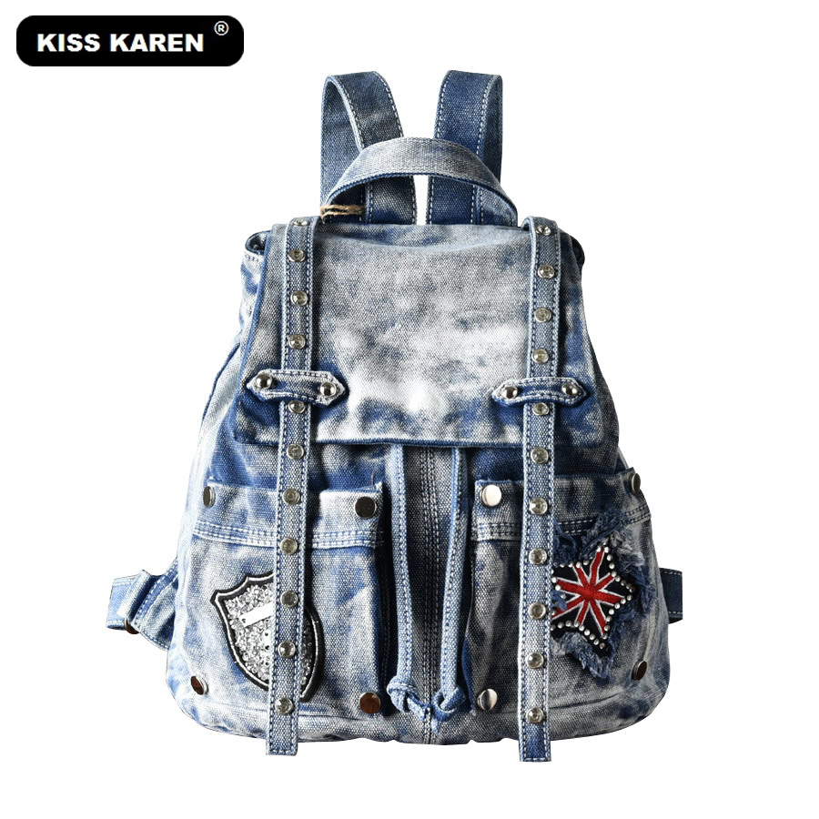 Voyage Sacs Jeans Rivets Blue Cowboy La Baiser À Karen Causal Dos Diamants Mode Denim Femmes Daypacks Great Black Sac super Dames Rn7768B