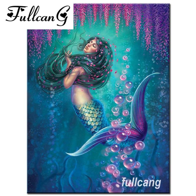FULLCANG diy diamond embroidery mermaid 5d diamond painting cross stitch full square drill mosaic needlework kits D777
