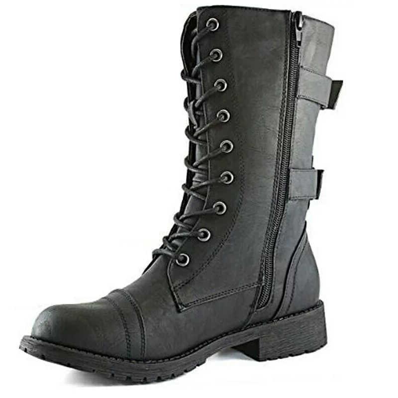 חדש נשים מגפי Zip אבזם צבאי נעליים צבאיות אשראי כרטיס כיס מגפוני תחרה עד שחור נעלי אופנוע מגפי גודל גדול