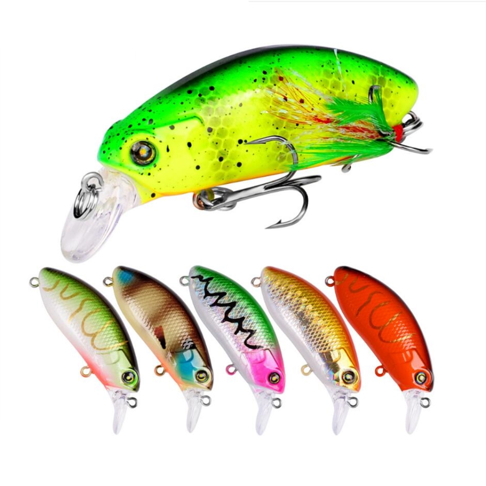 1pcs/lot 6cm 9.6 Fishing Lures Crank Baits Mini Crankbait 3D Eyes Artificial Lure Bait With Feather Lifelike Fake Lure Tackle