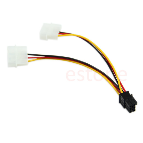 все цены на 1PC 6 Pin PCI-E to 2 X 4 Pin Power Adapter Converter Cord Cable High Quality Trade Price онлайн