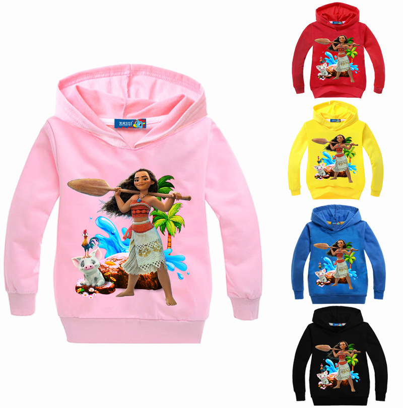 New Moana boys Girls t-shirt kids cotton tops hooded Hoodies children clothes roupas infantis menino For 4 6 8 10 12 14 Years