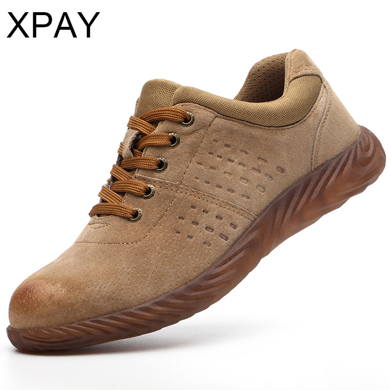 Leather Safety Shoes Men Steel Toe Security Shoes Work Shoes Puncture Proof Sole  Work & Safety