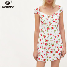 ROHOPO Summer Women Rose Print Dress Cute Off Shoulder Tie Bow Cute Girl Dress Preppy Mini High Waist Dresses #OYK9728 plus tie waist dot print off shoulder dress